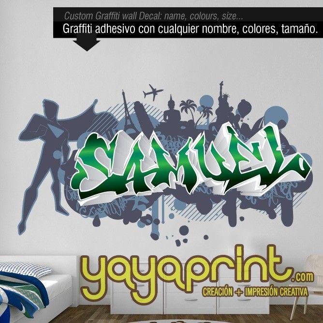 Graffiti nombre decoraci n habitaci n cuarto dormitorio for Mural habitacion juvenil
