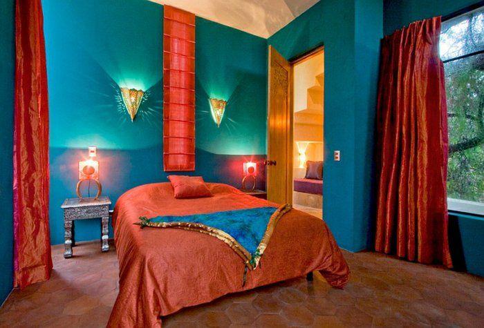 Schlafzimmer Design Petrol Rot Orange Grün Schlafzimmer Gestalten,  Raumgestaltung, Marokkanisch Inspiriertes Schlafzimmer, Marokkanisches