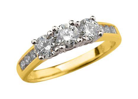 LEGENDARY YELLOW GOLD THEE-STONE 2.00CTW DIAMOND ANNIVERSARY RING