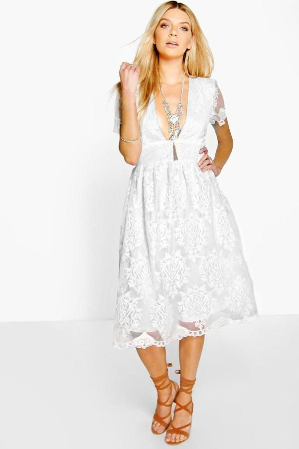 Boohoo Boutique Ana Scallop Hem Organza Prom Dress Organza Dress White Cocktail Dress White Dress Party