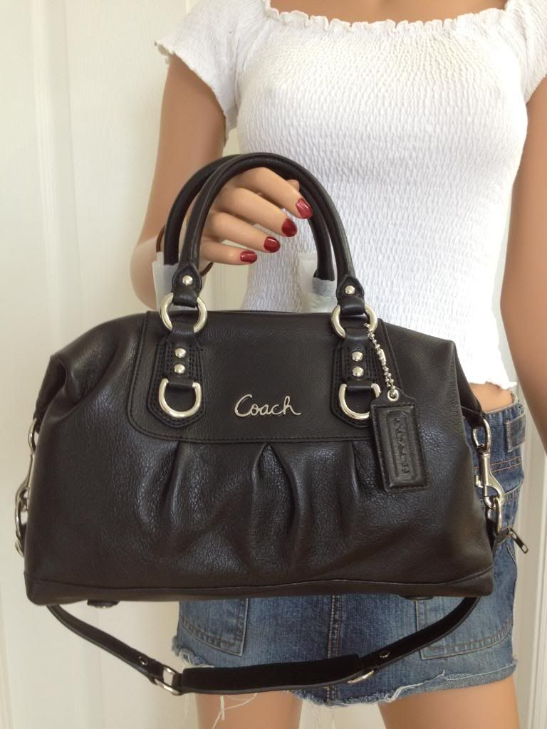 9d26eba2012 Coach Ashley Leather Shoulder Bag | Coach Ashley Leather Satchel Purse  Shoulder Bag Handbag 15445 Black