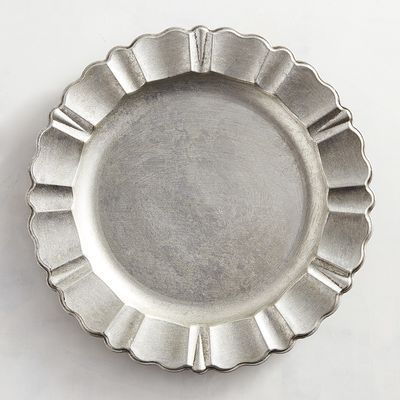 Antiqued Scalloped Silver Charger Plate & Antique Scalloped Silver Charger | Patios Kitchens and Room