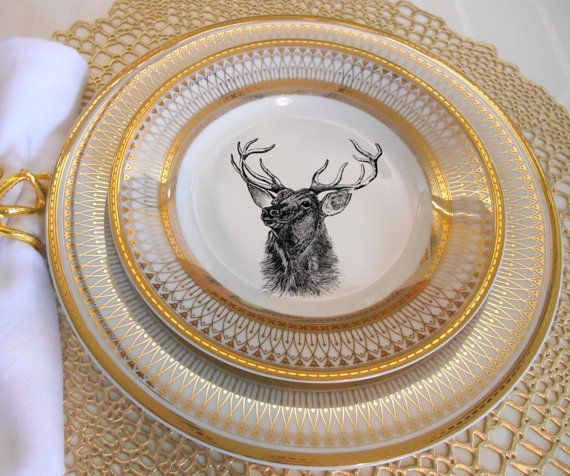 Gold Deer Reindeer Plates Dinnerware Dishes Customized Plates Christmas Plates Wildlife Plates Personalized Dishes Christmas China Christmas Dinnerware Reindeer Plate Gold Deer