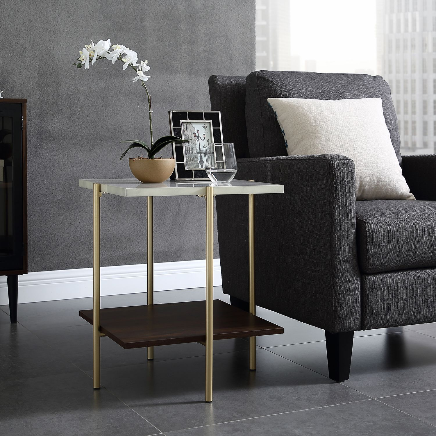 Square White Faux Marble Gold Side Table New Apt 2505