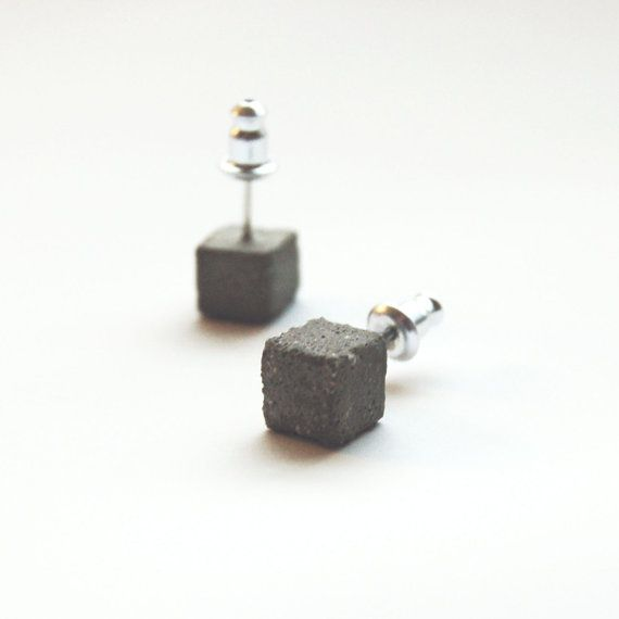Square Concrete Earring Studs - Grey Concrete Jewelry on Etsy, $28.00