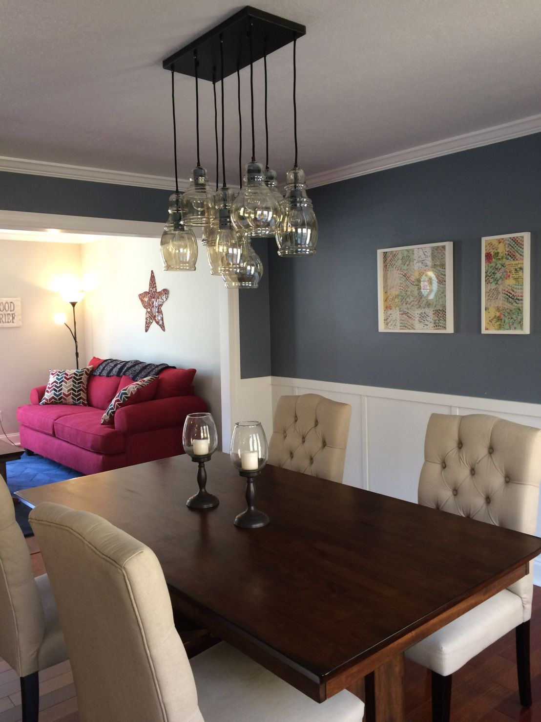 Dining Room Remodel   Board And Batten, Sherwin Williams Storm Cloud In Dining  Room, Sherwin Williams Aloof Gray In Living Room, Mariana 8 Light Pendant  ...