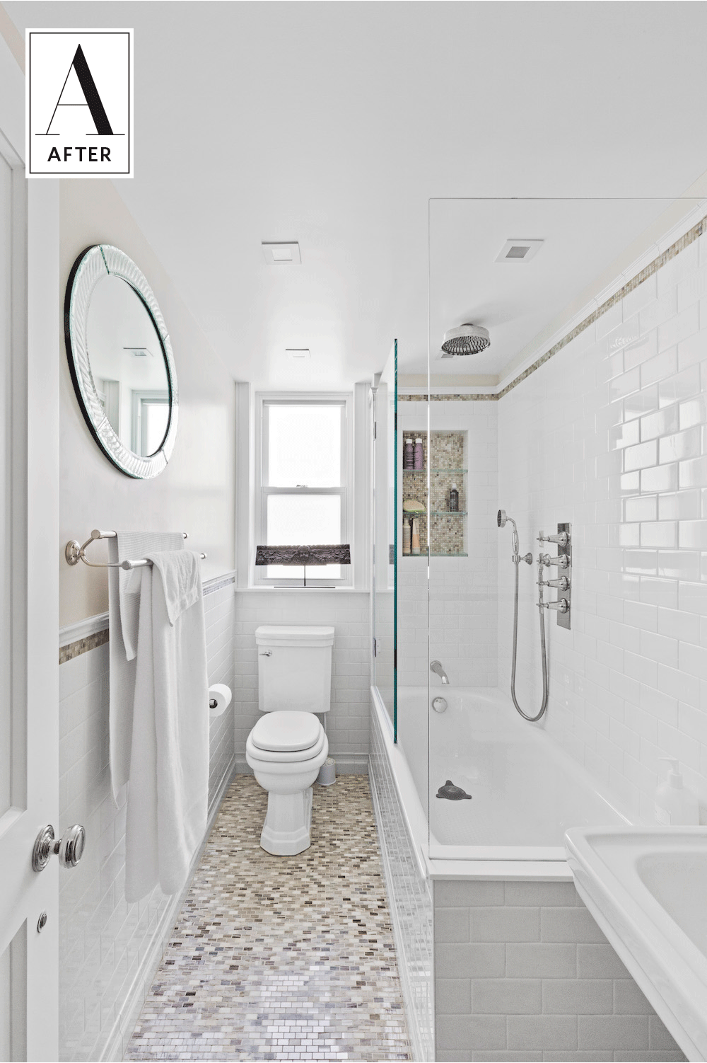 Before After An 80s Bathroom Gets A Classic Update Small Narrow Bathroom Bathrooms Remodel Bathroom Layout