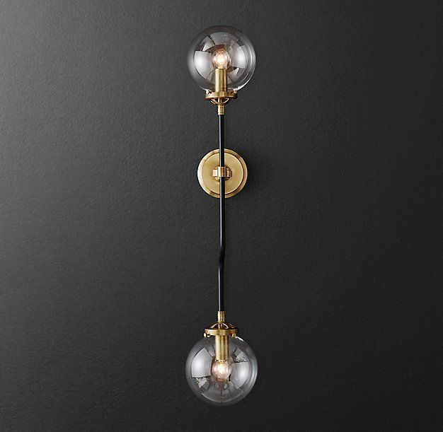 Bistro globe grand double bath sconce from restoration hardware project gonzalez remodel Restoration bathroom lighting