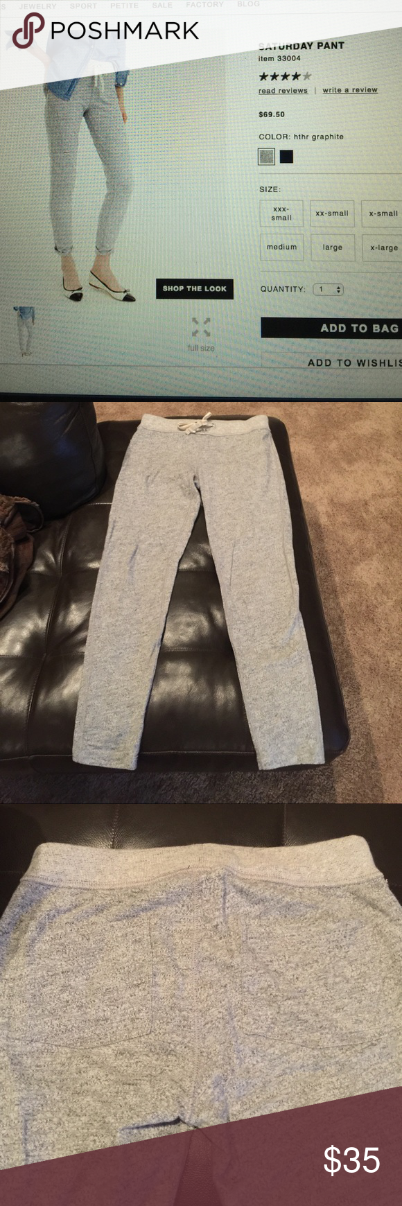 J Crew Saturday pant. In excellent condition. J Crew sweatpants in light grey.  Excellent condition,  worn and washed only once. Two back pockets J. Crew Pants Track Pants & Joggers