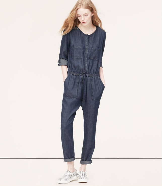 b8297356e843 Thumbnail Image of Primary Image of Petite Chambray Jumpsuit ...