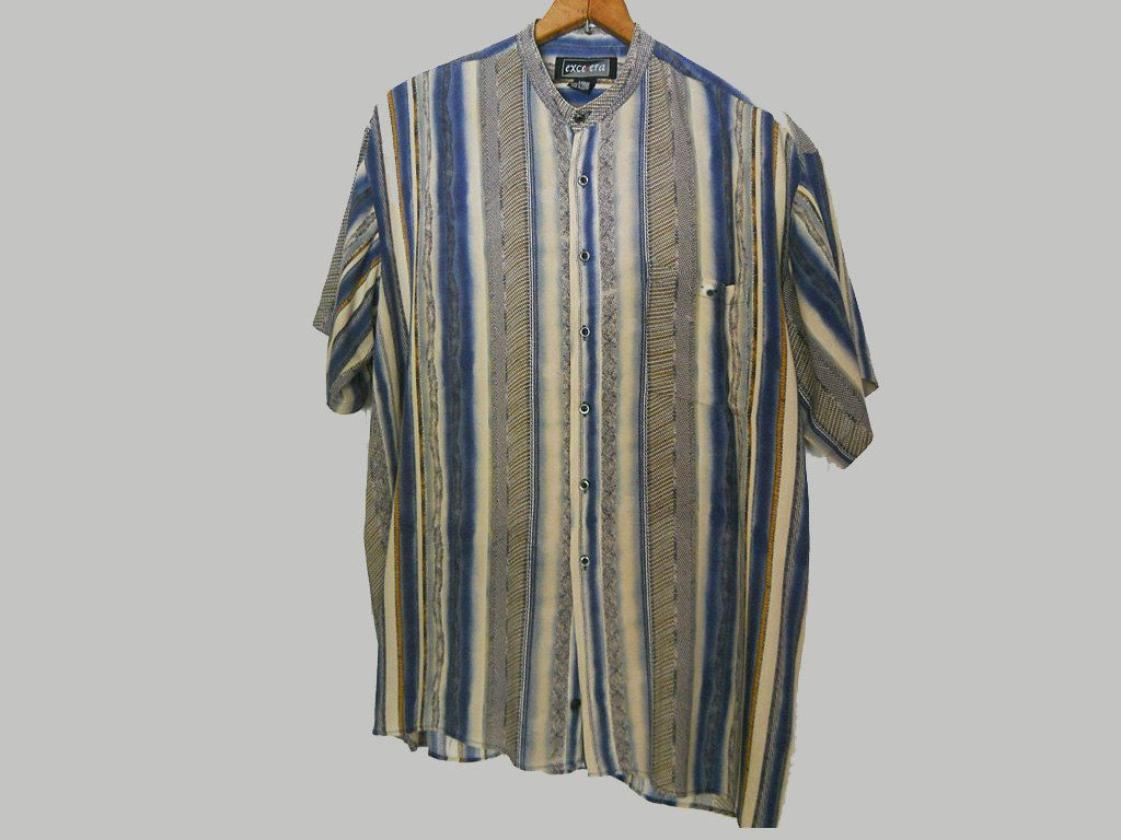 Men 39 s vintage 80s rayon shirt relaxed collarless short for Collarless short sleeve dress shirt