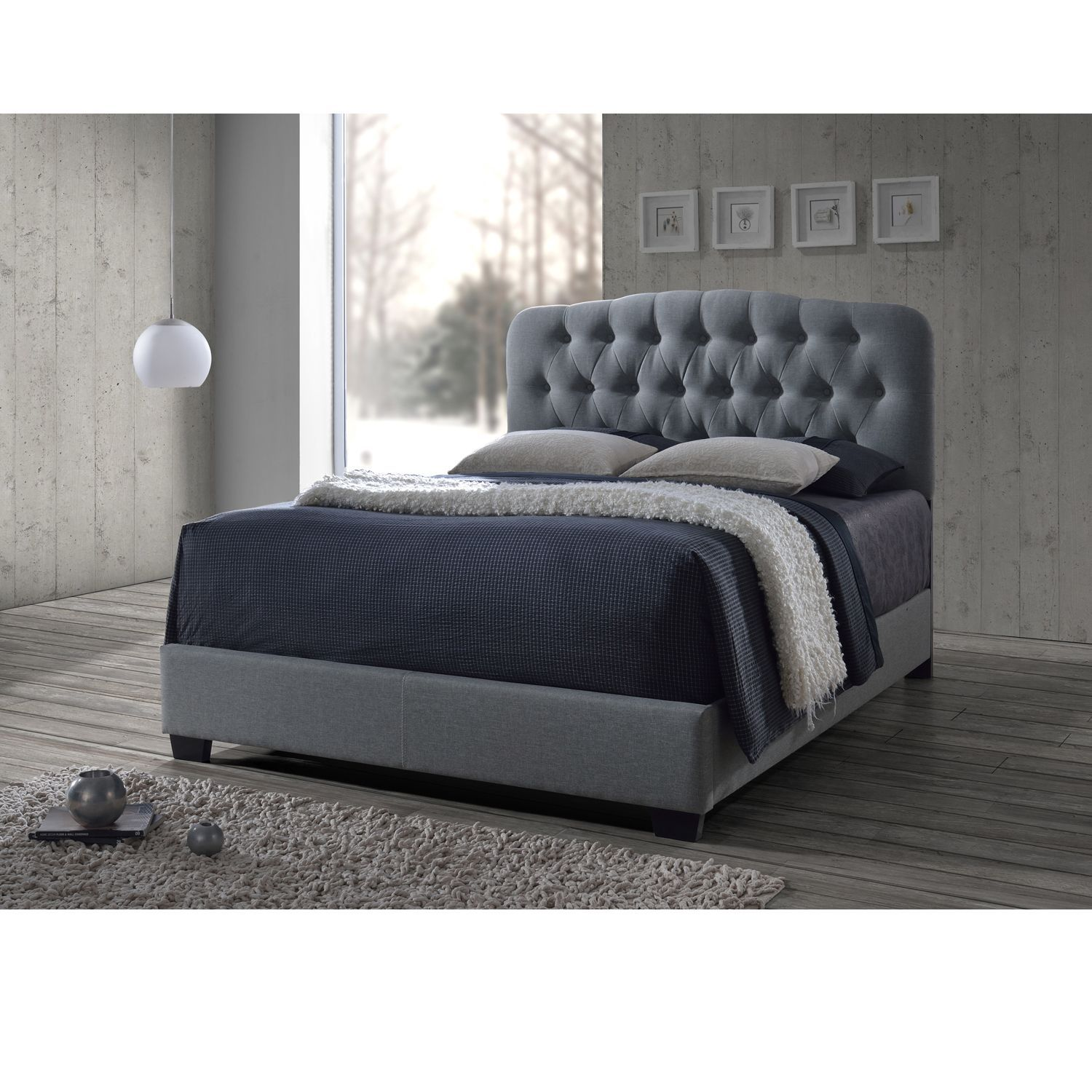 Baxton studio brighton button tufted upholstered modern bedroom bench - Baxton Studio Romeo Contemporary Espresso Button Tufted Grey Upholstered Bed By Baxton Studio