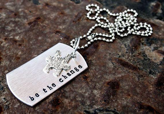 Autism Awareness Be The Change Dog Tag Necklace door MetalLuscious, $20.00