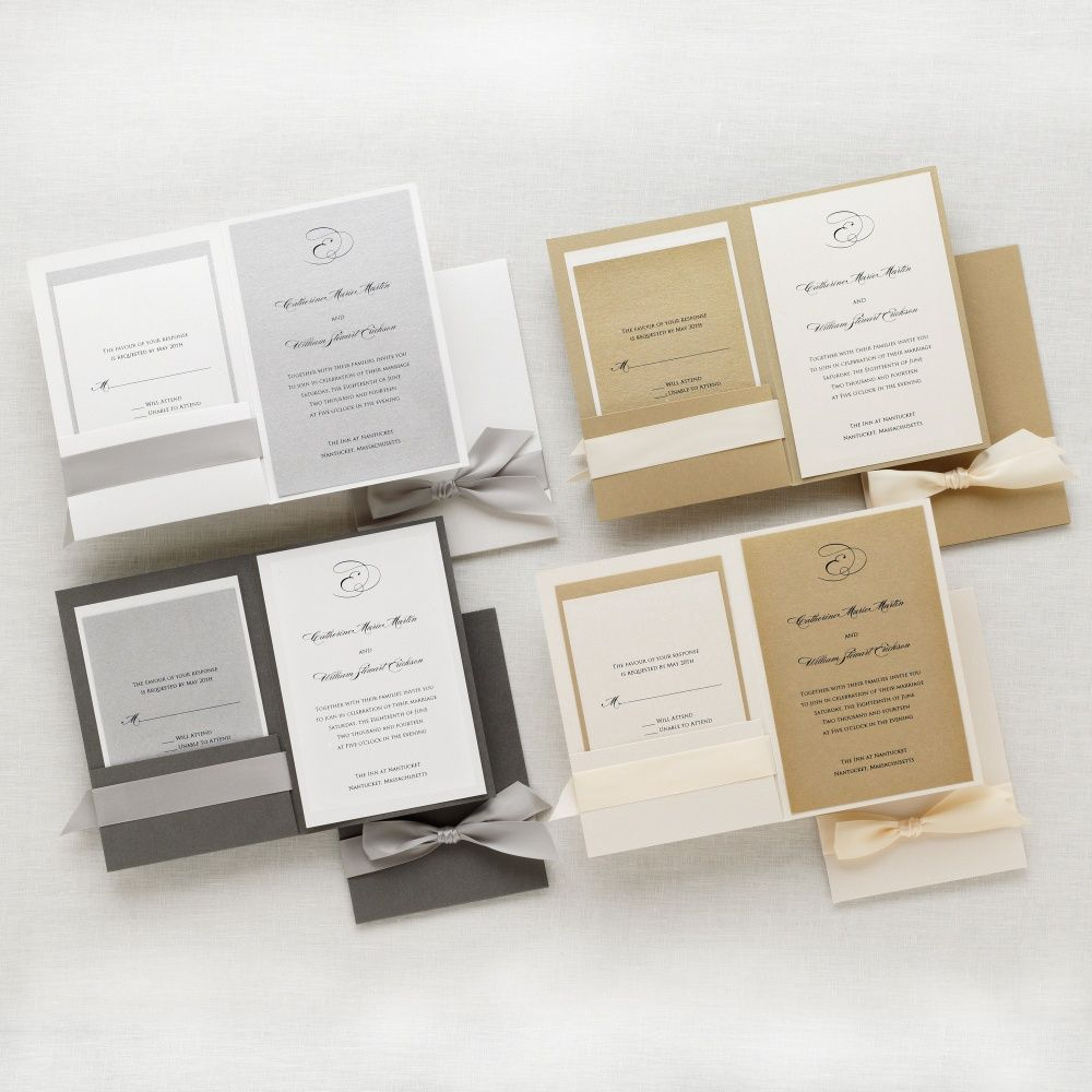 Exclusively Weddings Stylish Duet Wedding Invitation Is An All Inclusive Classic Design Everything You Need In One Kit Choose Your Color Of Pearlized