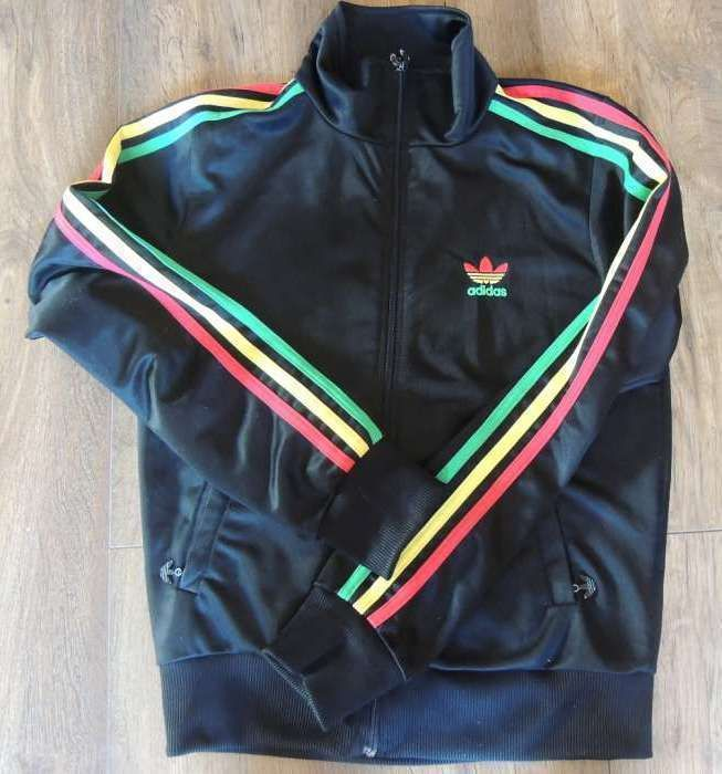 NEW MEN'S %ADIDAS FIREBIRD BLACK RED YELLOW GREEN STRIPE