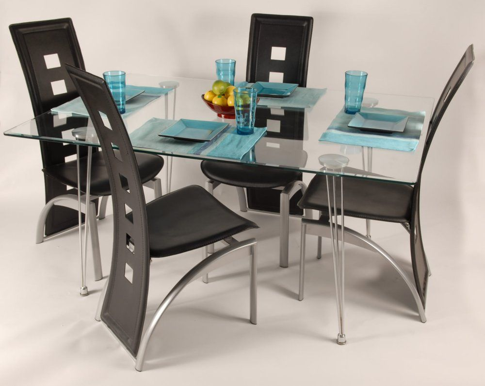 Contemporary Dining Room Set With Unique Style Chairs Feat Glass Top Table Plus Centerpiece Design Ideas