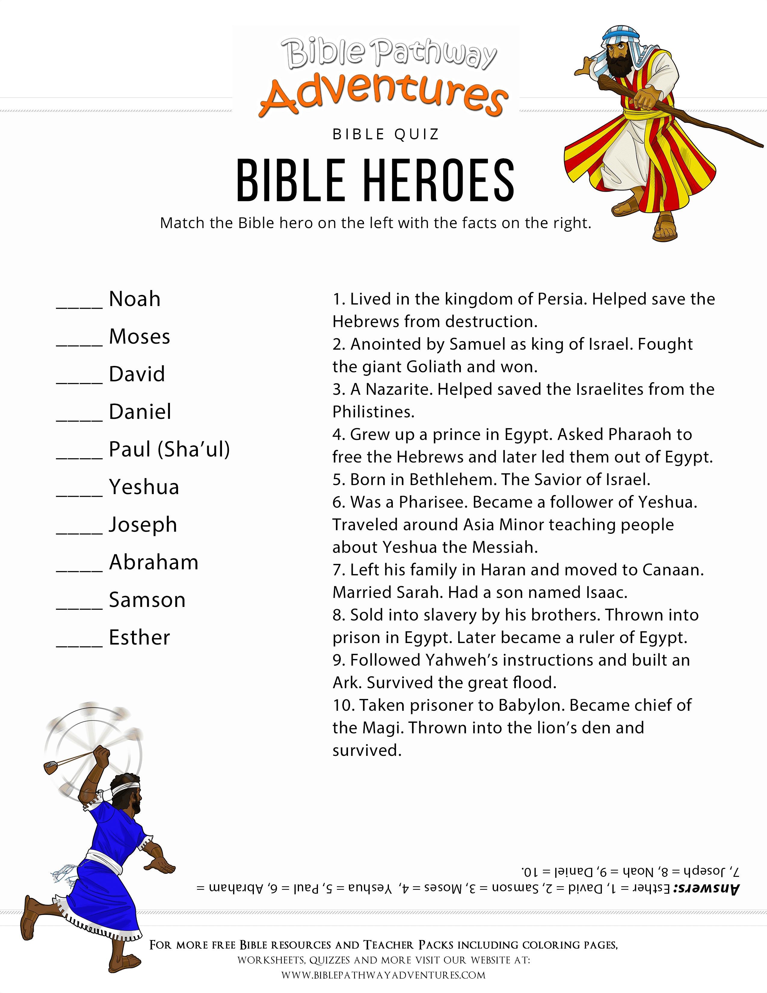 Printable Bible Heroes Quiz For Kids