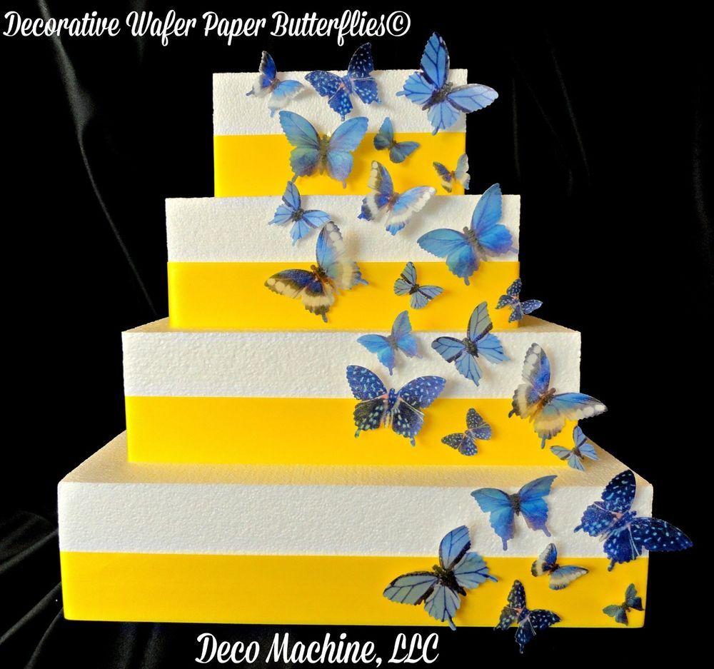 24 *PRECUT* EDIBLE BUTTERFLIES Wedding Birthday Butterfly Cake BLUE ...