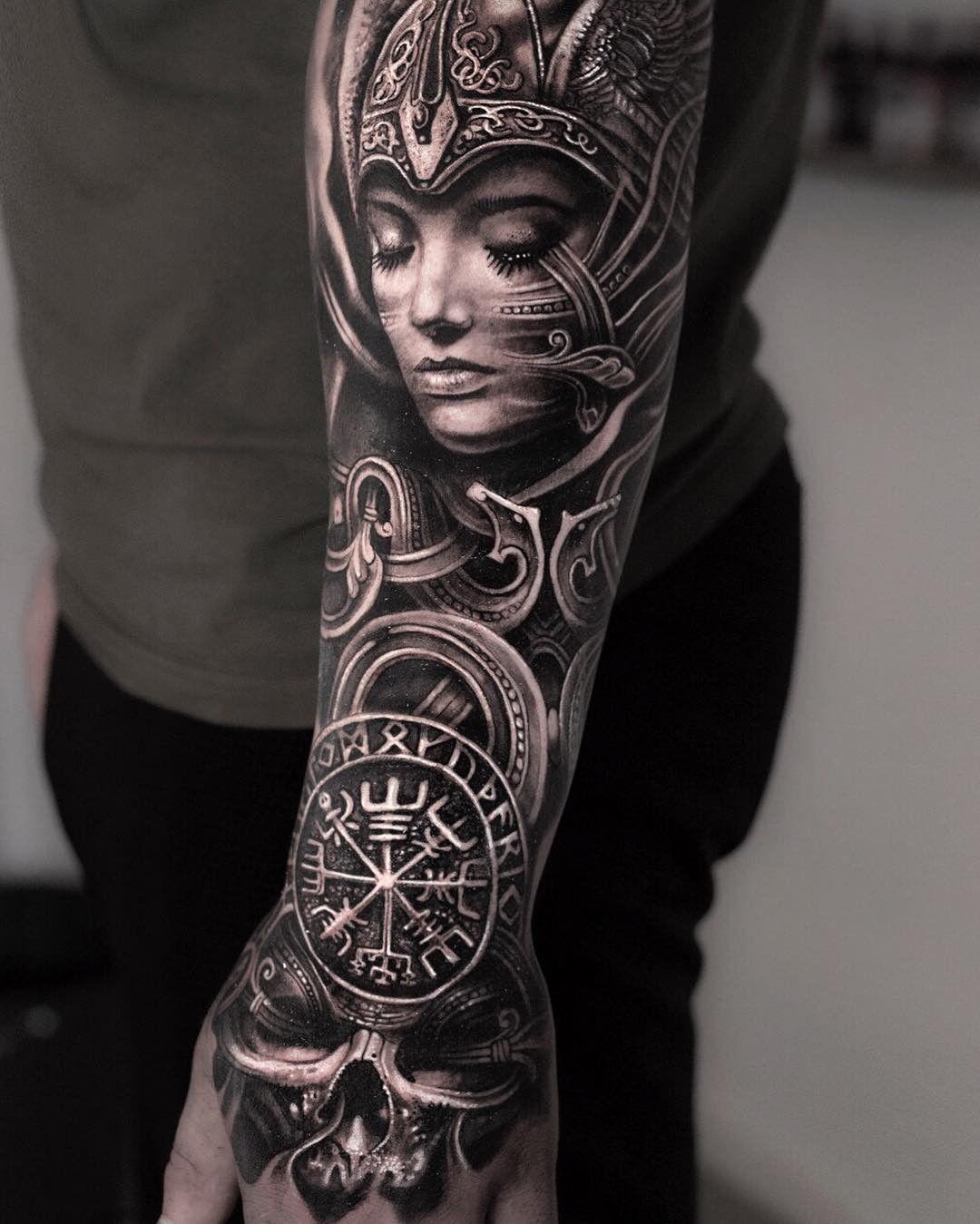 4db169fc47b59 Instagram: mumia916 Valkyrie Tattoo, Demon Tattoo, Tattoo Arm Mann, Viking Tattoo  Sleeve