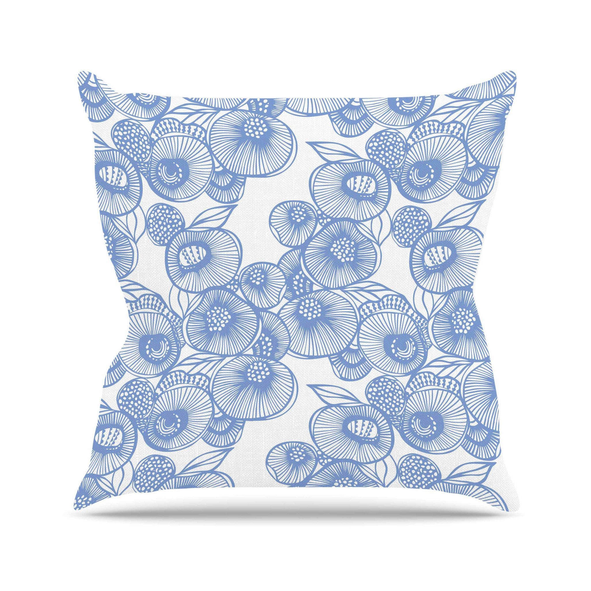 """Gill Eggleston """"Fenella Floral"""" Blue White Throw Pillow 