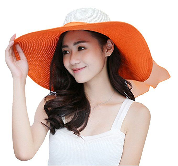 3d36a897 Kaisifei Bowknot Casual Straw Women Summer Hats Big Wide Brim Beach Hat  (off-white) at Amazon Women's Clothing store:
