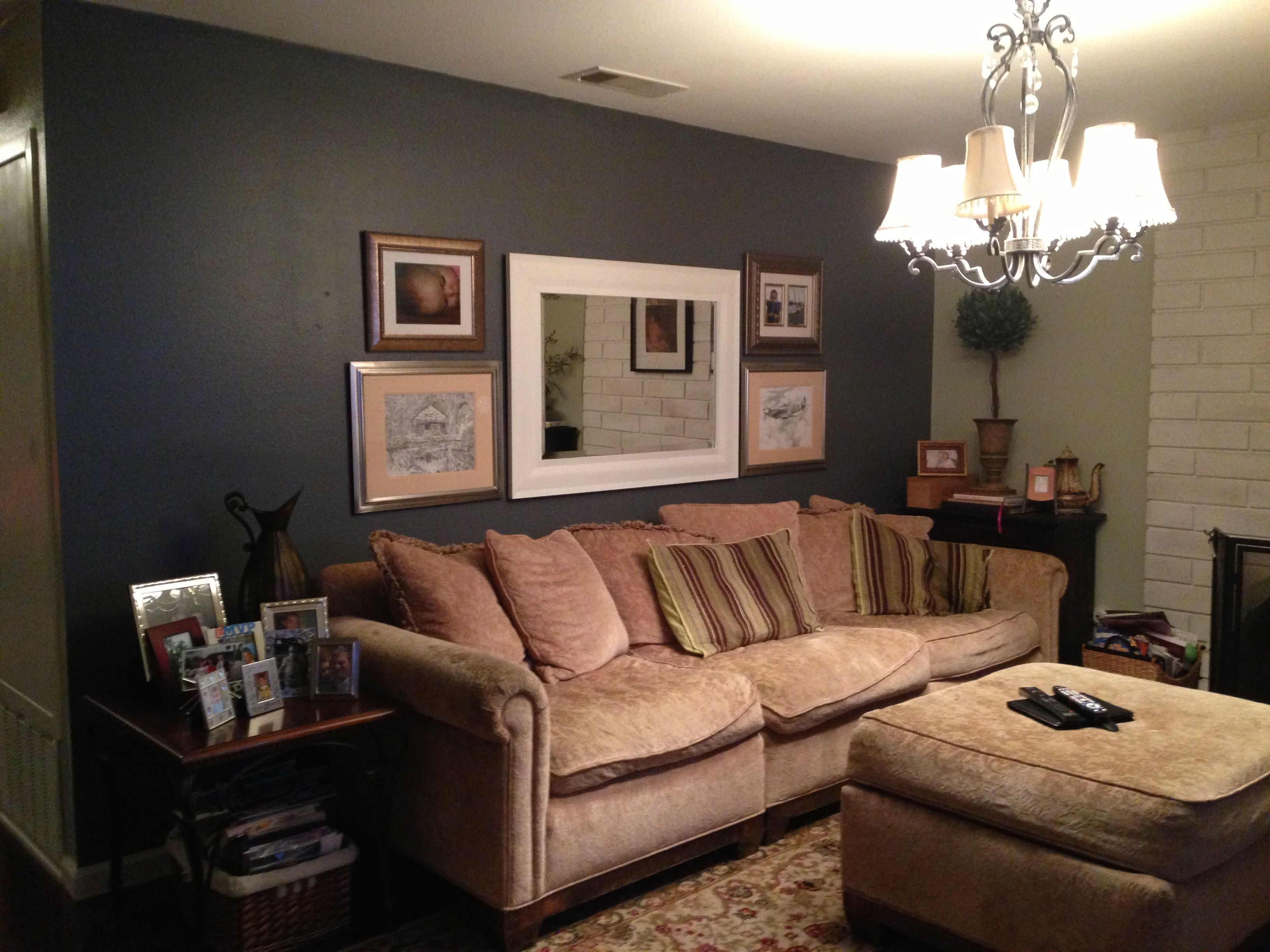 Small livingroom idea. Painted this dark blue and it had an opposite ...