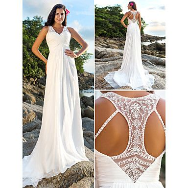 Elegant & Luxurious/Chic & Modern Sheath/Column V-neck Court Train Wedding Dress ( Chiffon ) – USD $ 179.99