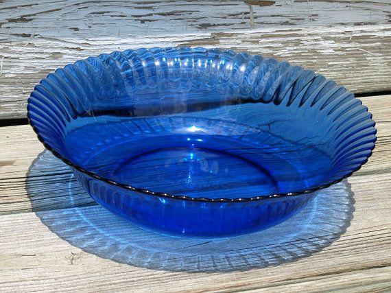 Vintage Cobalt Blue Glass Bowl Colorex Brazil Glass Bowl Blue