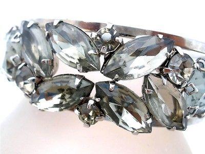 Juliana Gray Rhinestone Clamper Bracelet Hinged Bangle D E Smoke Vintage | eBay
