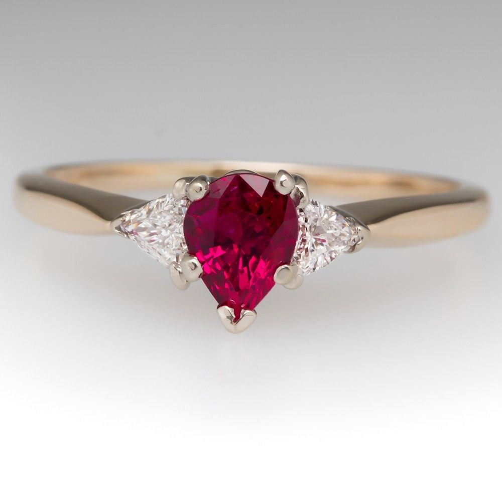 Pear Shaped Ruby Triangle Diamond Yellow Gold Ring Would Be Great With A Diff: Triangle Ruby Wedding Rings At Reisefeber.org