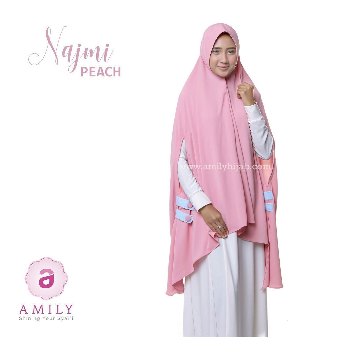 Amily Najmi Khimar Peach - hijab kerudung khimar jilbab syari