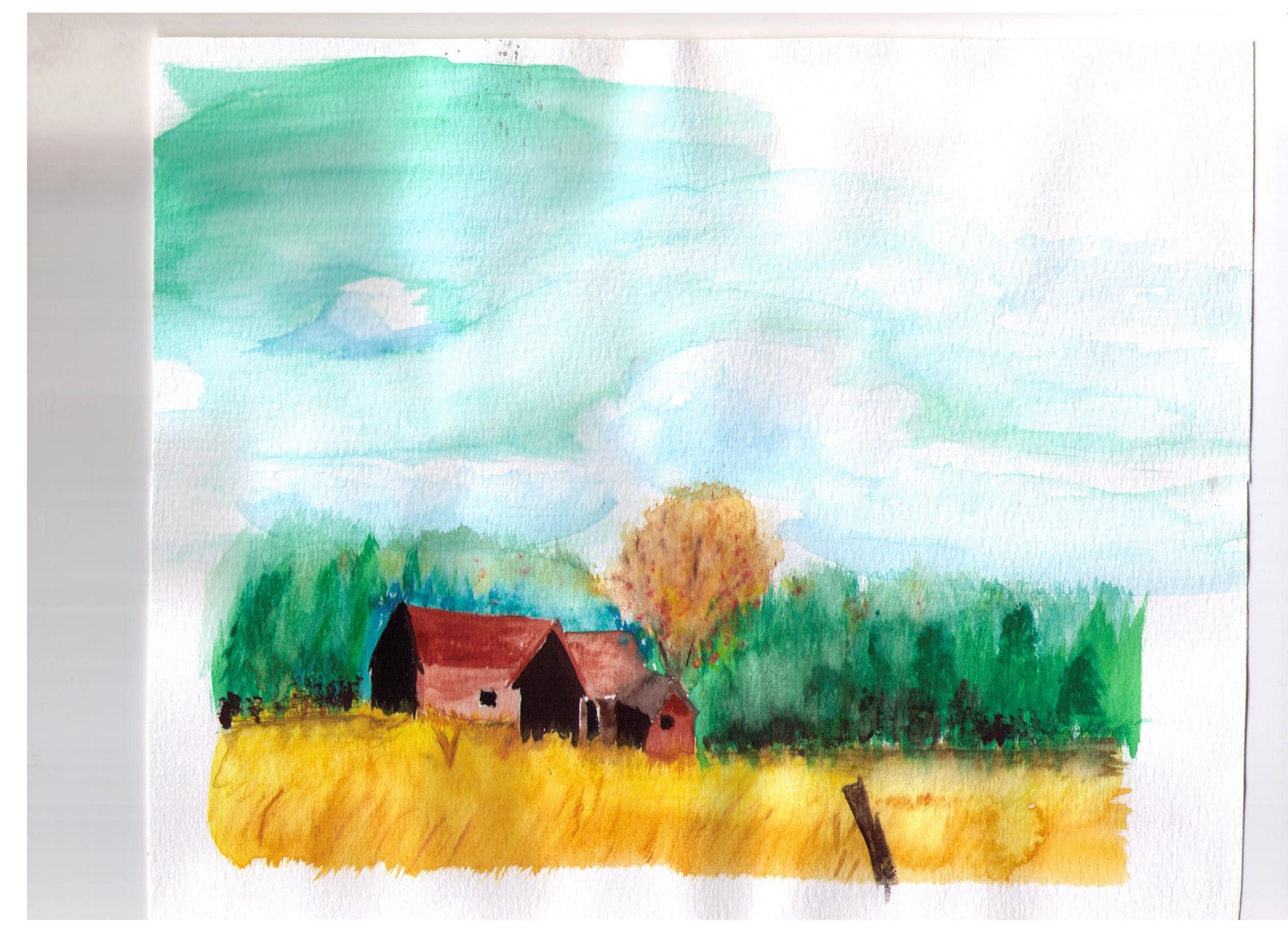 Old Family Farm Experiment In Watercolor Painting Artwork Art