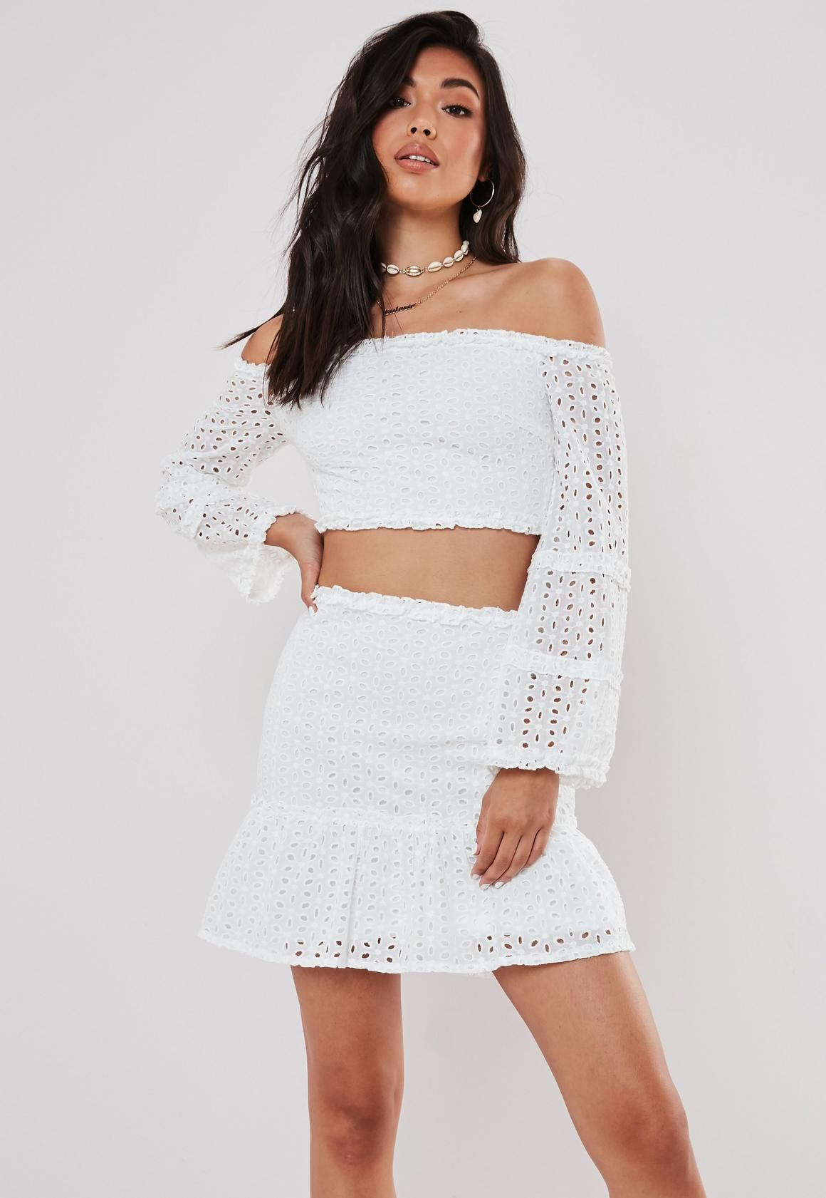 5b6a2542c1 White Broderie Anglais Crop Top and Frill Skirt Co ord Set in 2019 |