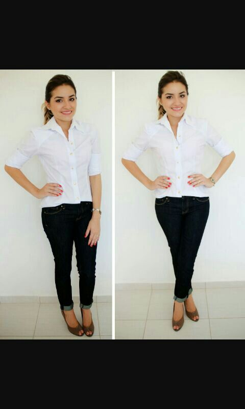 Camisa branca+jeans