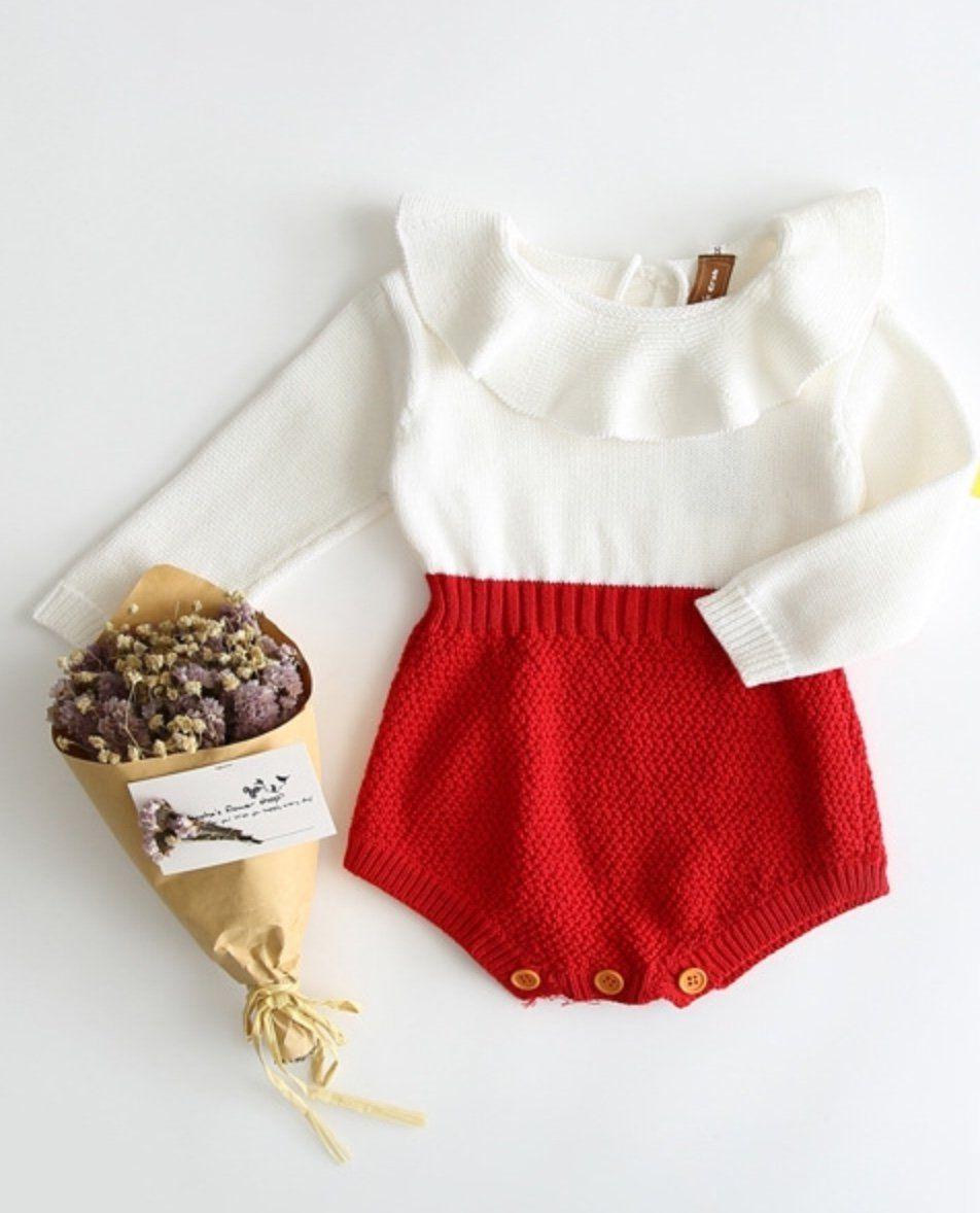 Cute Newborn Baby Girls Wool Knitting Patchwork Tops Long Sleeve Ruffle Romper