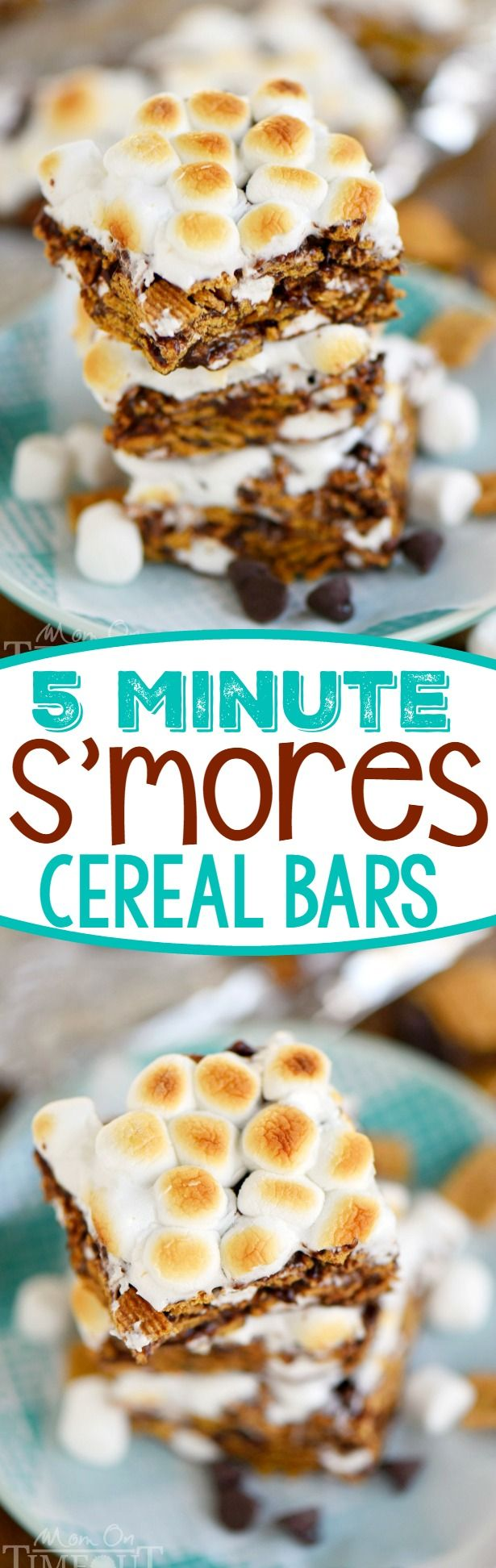 This delightfully easy recipe for 5 Minute S'mores Cereal Bars is going to become a new favorite for sure! Just 5 ingredients and loads of authentic s'mores flavor, these bars are adored by kids and adults alike! // Mom On Timeout #smores #dessert #recipe #cereal #easy #sweets #summer #bars