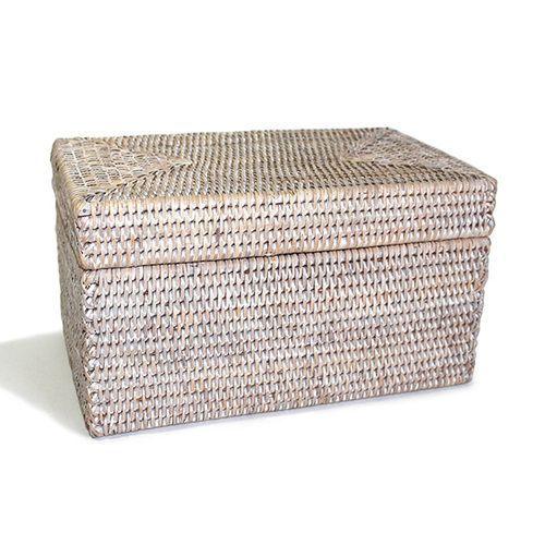 Buy Melbury Rectangular Wicker Storage Basket From The: White Washed Rattan Rectangular Lidded Storage Basket