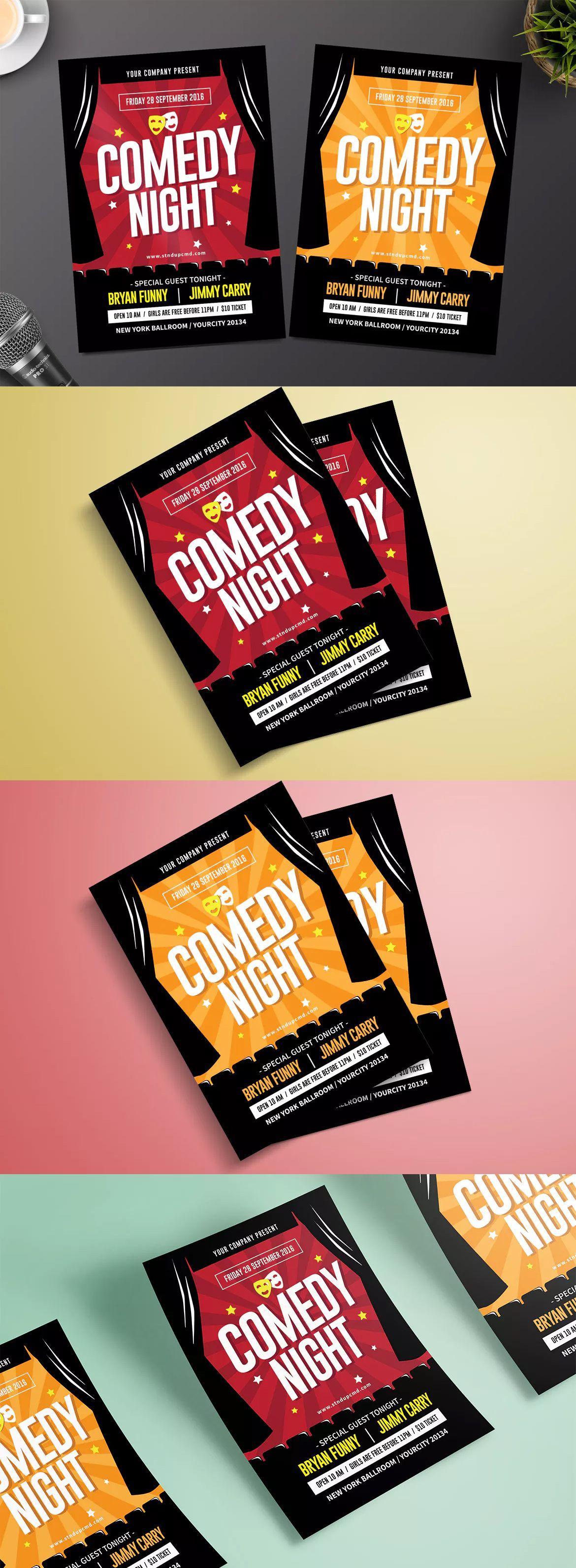 Night Comedy Flyer Template Ai Psd Flyer Design Templates
