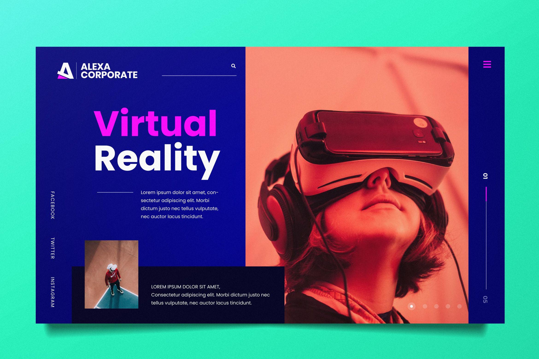 Virtual Reality Web Header PSD and AI (Graphic) by alexacrib83