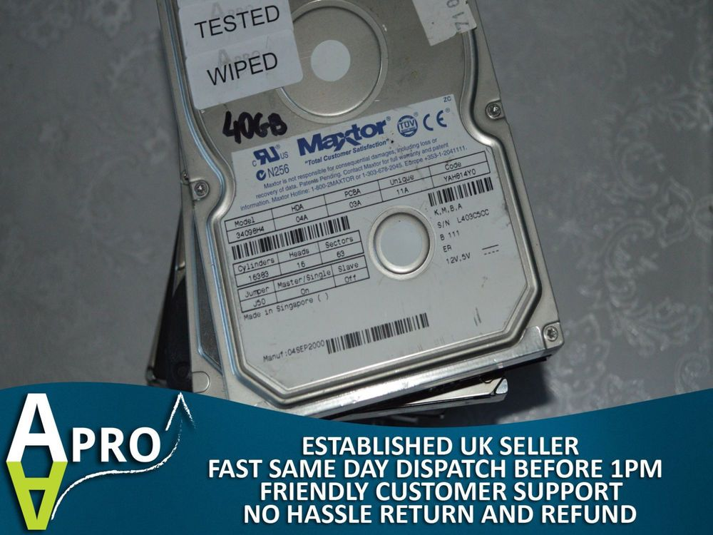 "WORKING NO BADS 40GB ATA IDE 3.5"" 3.5 INCH HARD DRIVE HDD UK SELLER - 4S #MIXBRANDS"