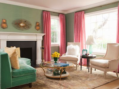 Sage Green Walls And Pink Curtains.