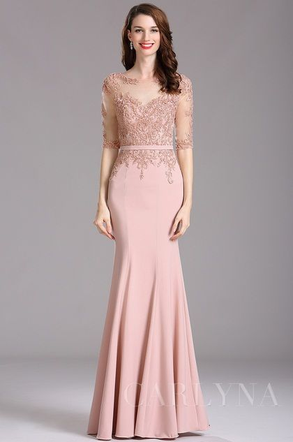 Carlyna rosa Illusion Kleider mit süß Schatz Ausschnitt(E61746 ...