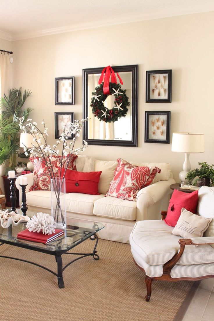 Picture and mirror frame set up in family room above couch - Ideas decorating living room walls ...