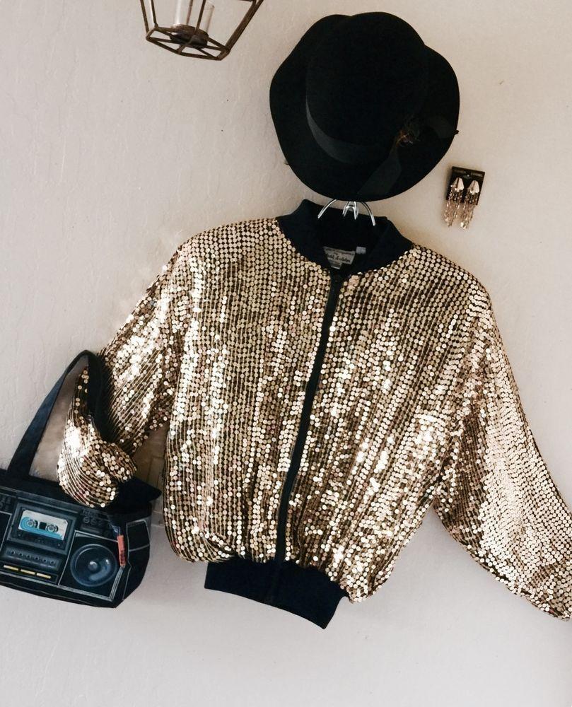 ce9176407 vtg mark & john #80s gold sequin bomber jacket sz med disco glam ...