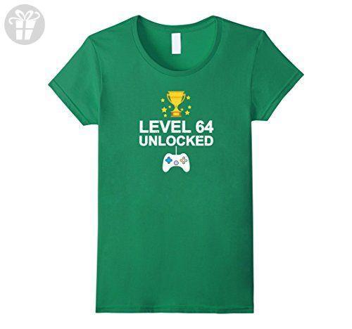 Womens 64th Birthday Level 64 Unlocked Funny T-shirt Gift Vintage Large Kelly Green - Birthday shirts (*Amazon Partner-Link)