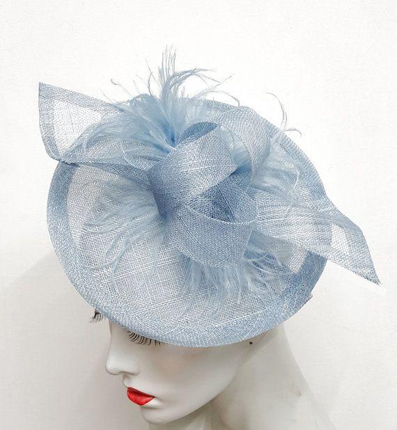 ec0fac8f83 Pale blue saucer fascinator powder blue fascinator baby blue ...