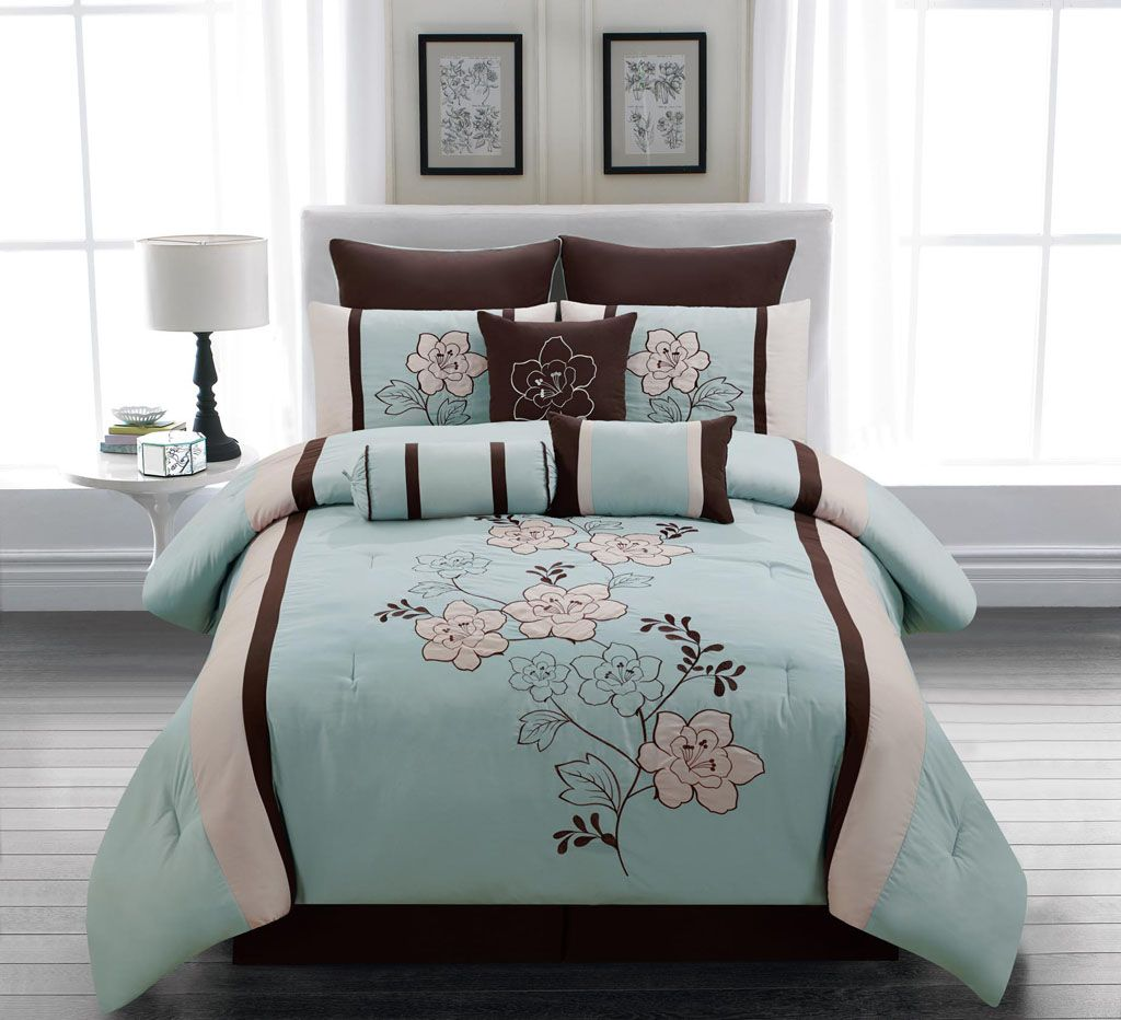 blue and brown Comforter Sets with Matching Curtains | Piece Cal ...