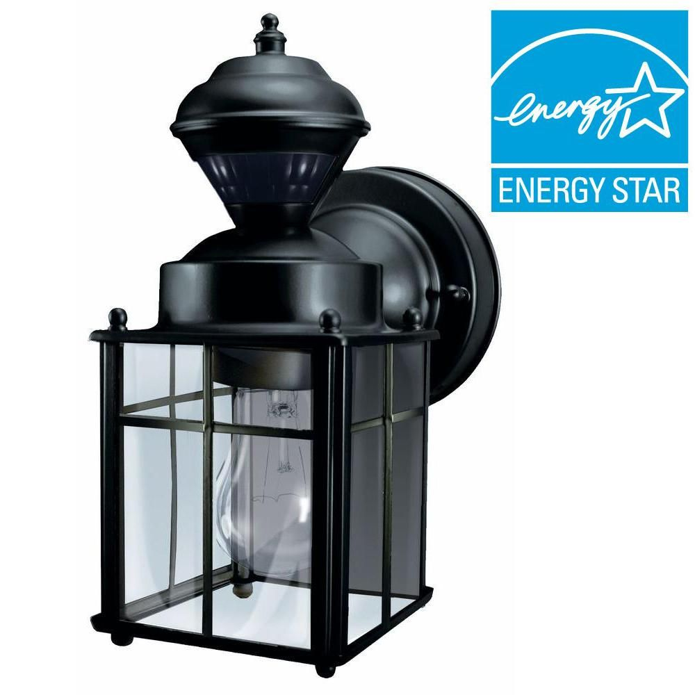 Hampton bay bayside mission 150 degree black motion sensing outdoor lantern