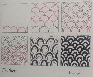 Zentangle pattern with drawing steps *Feathers