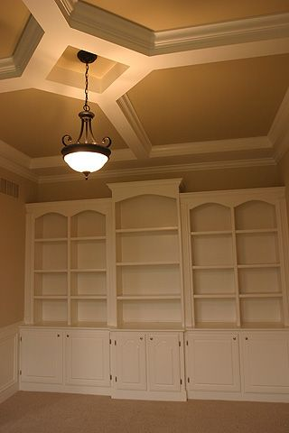 Like the coffered ceiling with bookshelves.  Maybe make the center one a desk area.
